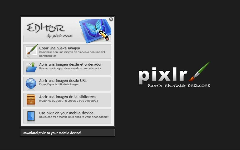 Pixlr, online image editor definitive
