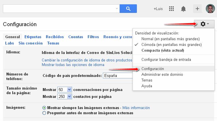configurar una dirección de correo externa en Gmail
