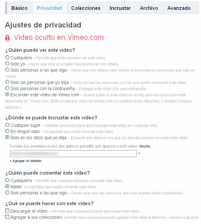 Opciones de privacidad en Vimeo para eLearning