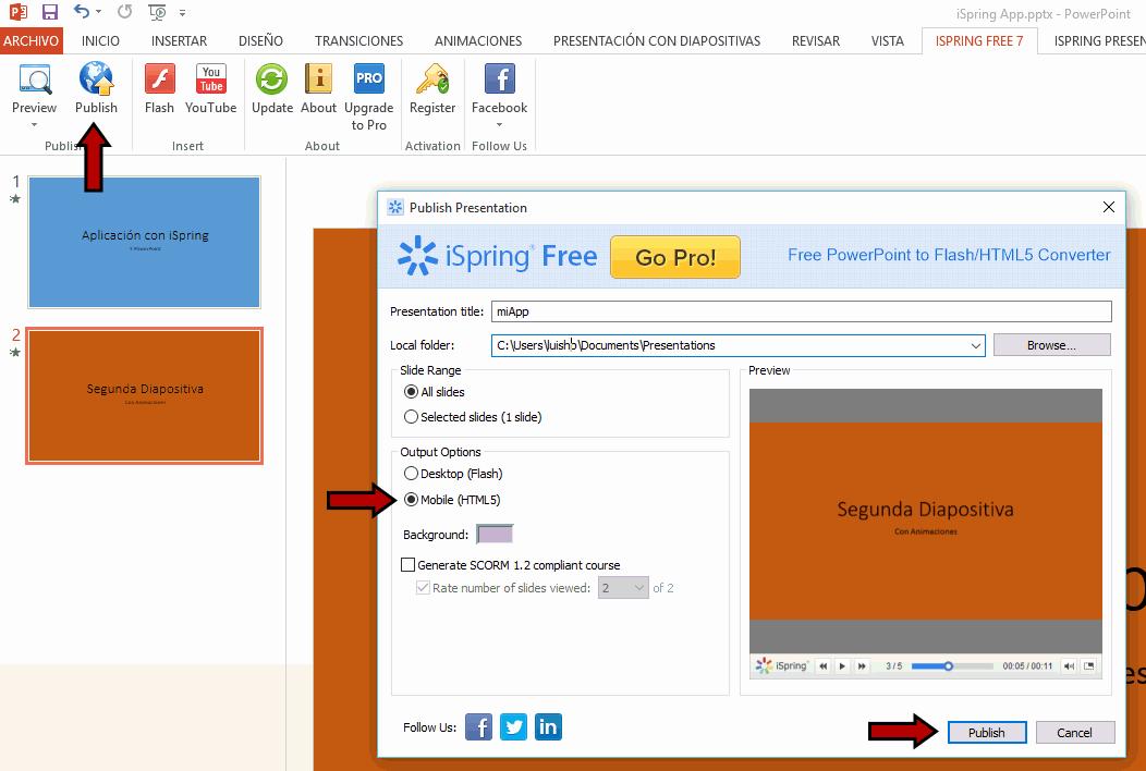 iSpring Free para crear una app con PowerPoint
