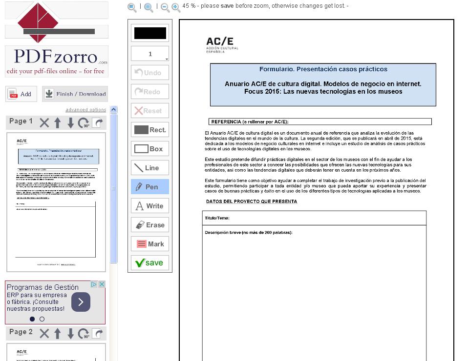 Editar un PDF con PDFzorro