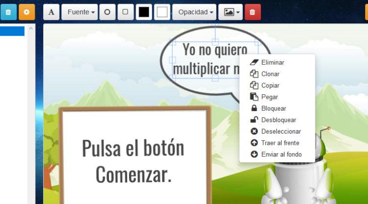 Detalle del editor de contenidos de aprendiendo.top