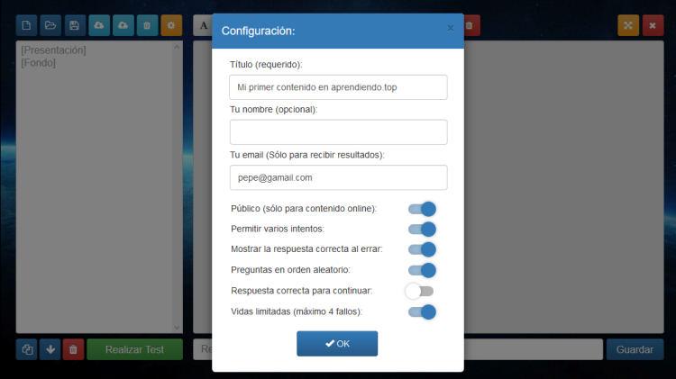 opciones de configuración en el editor de aprendiendo.top